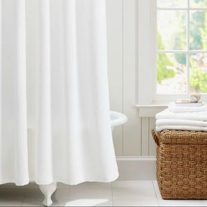 WHITE WAFFLE WEAVE SHOWER CURTAIN WITH GROMMETS